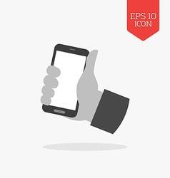Hand holding smartphone icon flat design gray vector