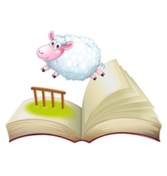 A book with a sheep jumping vector image vector image