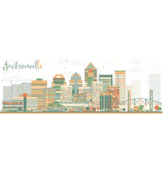 Abstract jacksonville skyline with color buildings vector