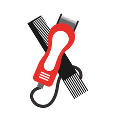 Barbershop comb with hairdressing machine vector
