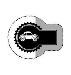 Black emblem sport car side icon vector