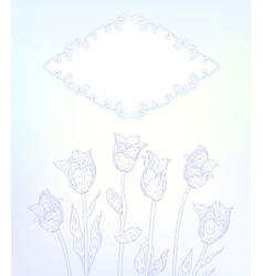 Card with hand drawn tulips on light blue vector