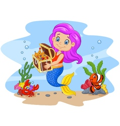 Cartoon funny mermaid holding treasure chest vector image vector image