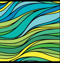color hand-drawing seamless wave sea background vector image vector image