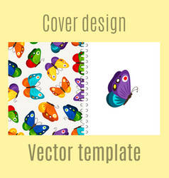 cover design with butterflies pattern vector image vector image