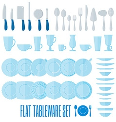 Flat style tableware big icon set isolated on vector