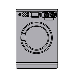 grayscale silhouette with washing machine vector image vector image