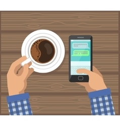 Hands with Cup Of Coffee and Phone vector image vector image