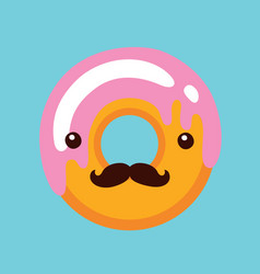 Hipster donut with cute face and mustaches vector