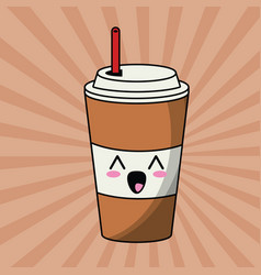 Kawaii paper cup soda image vector