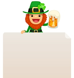 Leprechaun looking at blank poster on top vector