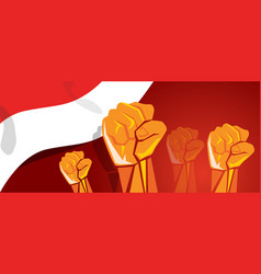 Movement together independence day hand fist arm vector