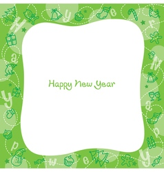 New Year Decoration Outline Icons Border vector image vector image