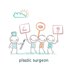 plastic surgeon looks at people with placards vector image vector image