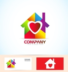 Real estate house family logo vector