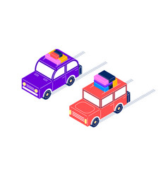 retro cars ride with luggage in isometric style vector image vector image