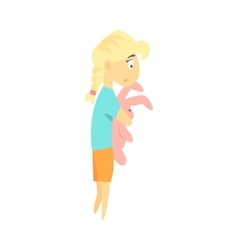 Sad little blond girl with toy rabbit feeling blue vector