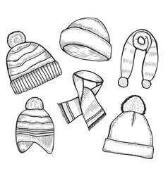 set of woolen winter clothes vector image