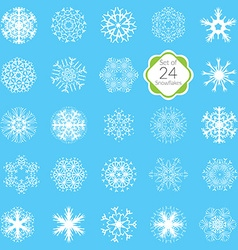 snowflakes set various designs symmetrical snow vector image vector image
