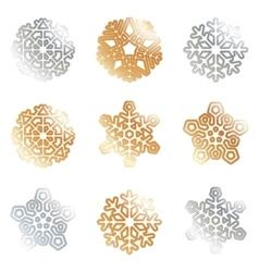 Snowflakes silver gold vector