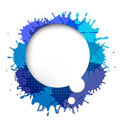 Speech bubble with blue blob vector