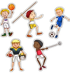 Sticker set of people doing sports vector image vector image