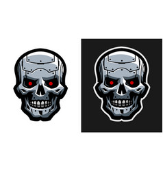 The metal skull of the robot two versions vector