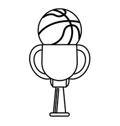 Trophy ball basketball winner outline vector