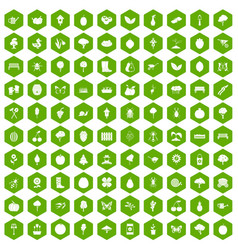 100 gardening icons hexagon green vector