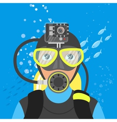 Skuba diver shooting video underwater vector