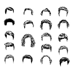 Set of men s hairstyles and beards hand-drawn vector