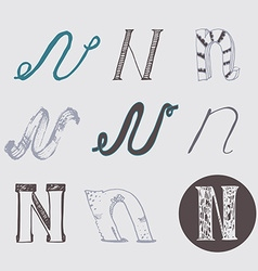 Original letters n set isolated on light gray vector