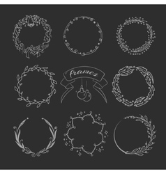 Christmas hand drawing wreath and ornament wedding vector