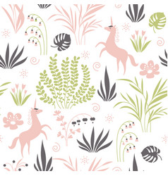 Seamless pattern with plants and unicorns vector