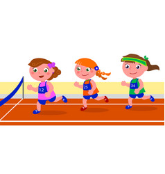 Young girl runner competition vector