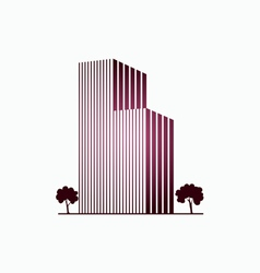 Pink buildings and trees vector