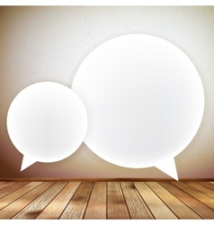 Wooden background with speech bubbles eps 10 vector