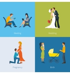 Creating a family meeting wedding pregnancy vector