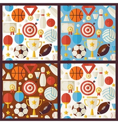 Four flat competition sport recreation patterns vector