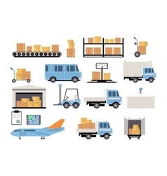 Warehouse flat set of logistics packing process vector