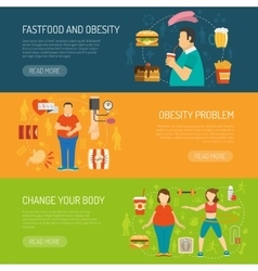 Banners obesity concept vector