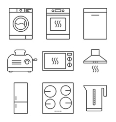Kitchen appliance icons vector image
