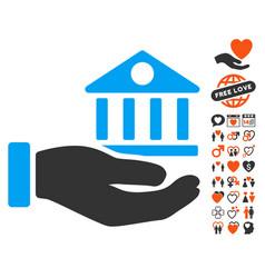 Bank building service hand icon with love bonus vector