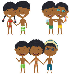 Beach african-american people standing and vector