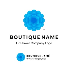 Beautiful Logo with Blue Flower for Boutique or vector image