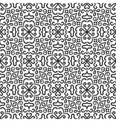 Black graphic flower pattern on white background vector image