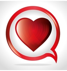 bubble speak with big heart love vector image