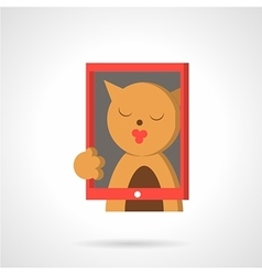 Cat with red frame flat icon vector