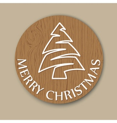 Christmas wooden round card vector