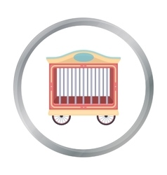 Circus wagon icon in cartoon style isolated on vector